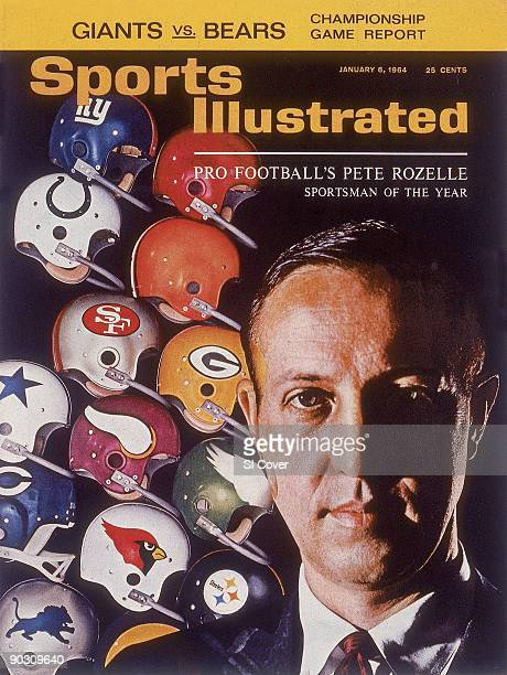 Football Sportsman of the Year Closeup portrait of NFL commissioner Pete Rozelle Dye transfer of team helmets equipment CREDIT Ben Rose