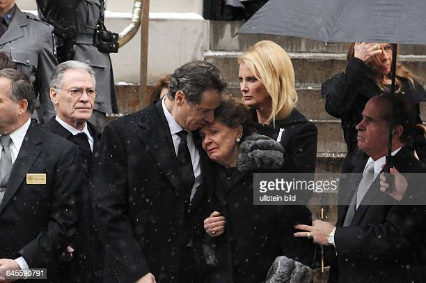 January 6 New York NY USA Andrew Cuomo and his mother at the funeral Mourners have gathered at Loyola church in upper Manhattan New York at the...