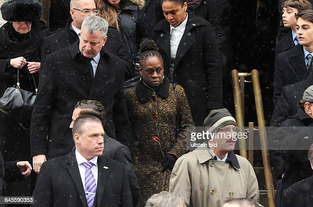 January 6 New York NY USA Current Mayor de Blasio and his wife are attending the funeral Mourners have gathered at Loyola church in upper Manhattan...