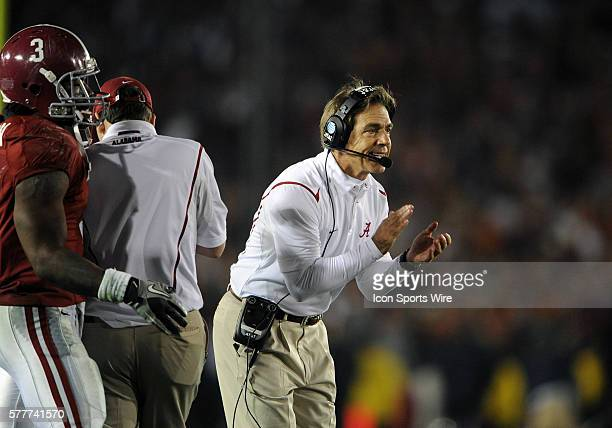 Alabama head coach Nick Saban during the second half of the Alabama Crimson Tide's game versus the Texas Longhorns in the Citi BCS National...