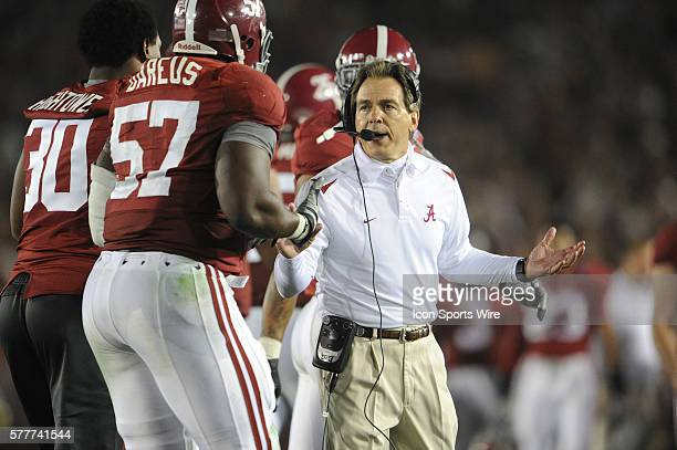 Alabama head coach Nick Saban during the Texas Longhorns game versus the Alabama Crimson Tide in the Citi BCS National Championship Game at the Rose...