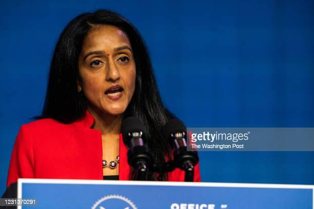 January 7, 2021: Vanita Gupta speaks during the announcing of President- Elect Joe Biden and Vice President - Elect Kamala Harris Justice Department...