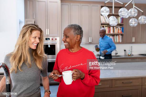 Alex Lerner left and B Smith share a moment as B Drinks tea in their East Hampton home on Long Island New York on Wednesday January 9 2019 Early...
