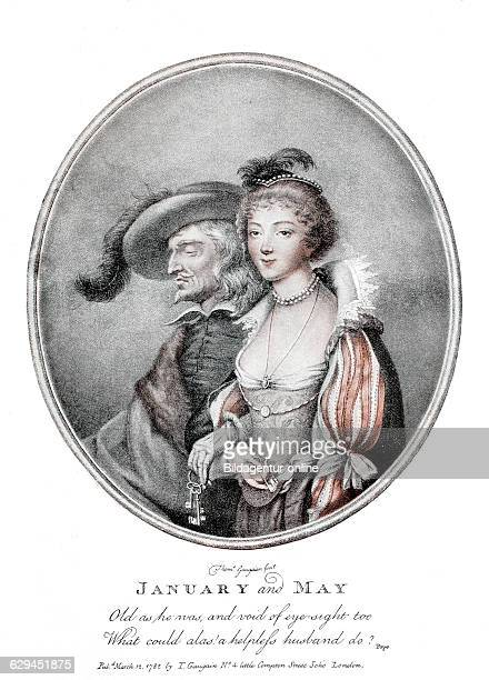 January and may symbolic english colour engraving about unequal couples 1782