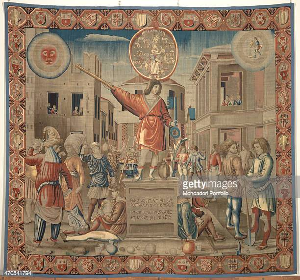 'January by Benedetto da Milano upon drawing by Bramantino c 15031508 16th Century tapestry Italy Lombardy Milan Sforza Castle Whole artwork view...