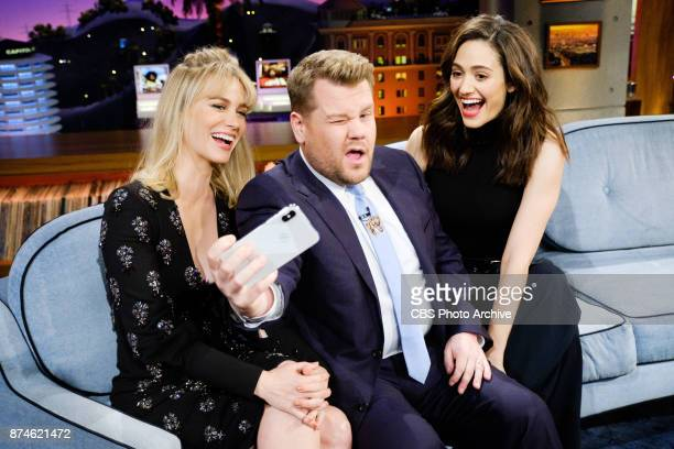 January Jones and Emmy Rossum chat with James Corden during The Late Late Show with James Corden Tuesday November 14 2017 On The CBS Television...