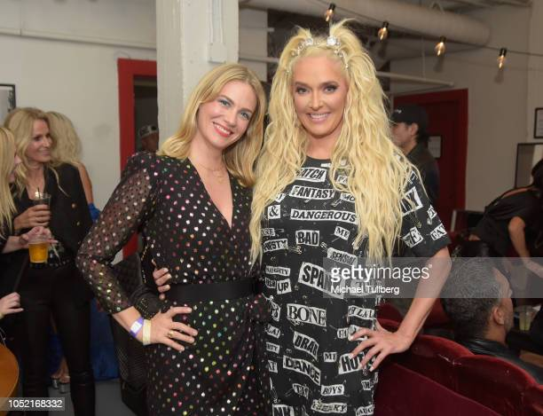 January Jones and Erika Jayne pose backstage on the Los Angeles date of Jayne's Pretty Mess Tour at The Globe Theater on October 14 2018 in Los...