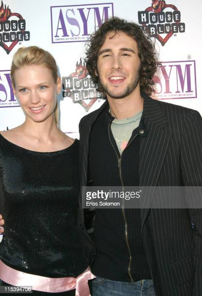 January Jones and Josh Groban during 13th Annual American Society Of Young Musicians Spring Benefit Concert And Awards Show at House Of Blues in Los...