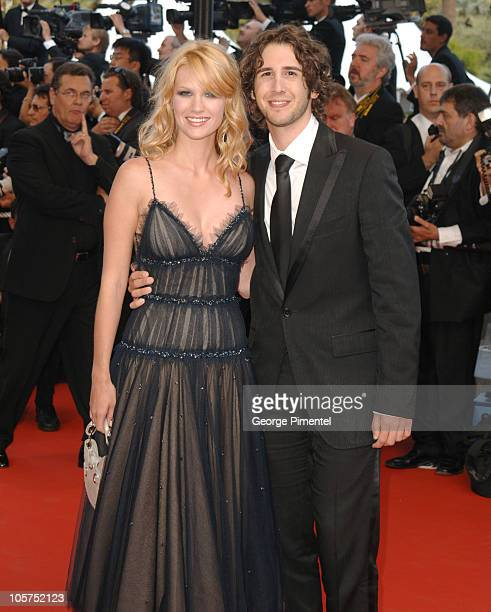 January Jones and Josh Groban during 2005 Cannes Film Festival Closing Ceremony and 'Chromophobia' Screening at Palais Du Festival in Cannes France
