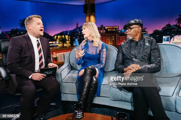 January Jones and Samuel L Jackson chat with James Corden during 'The Late Late Show with James Corden' Wednesday March 8 2017 On The CBS Television...