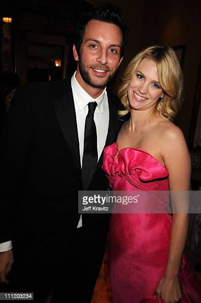January Jones and Guest attends the HBO after party for the 14th Annual Screen Actor's Guild Awards at the Shrine Auditorium on January 27 2008 in...