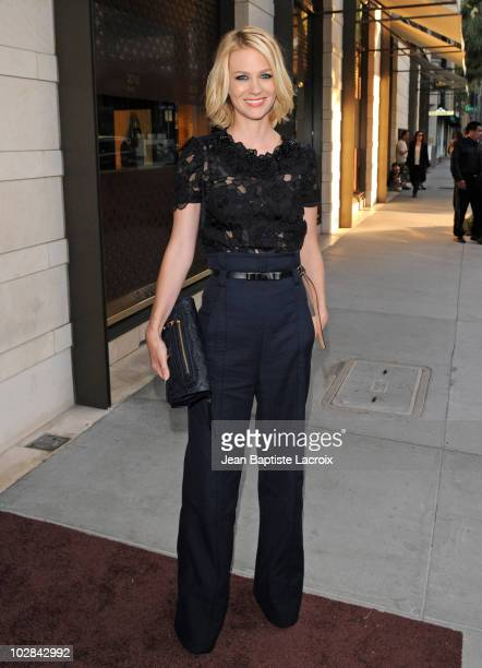 January Jones arrives at a cocktail party at the Louis Vuitton store on Rodeo Drive on July 13 2010 in Beverly Hills California