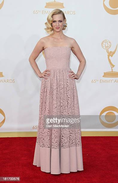January Jones arrives at the 65th Annual Primetime Emmy Awards at Nokia Theatre L.A. Live on September 22, 2013 in Los Angeles, California.