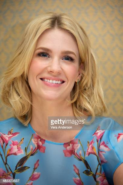 """January Jones at the """"Mad Men"""" Press Conference at the Four Seasons Hotel on April 4, 2014 in Beverly Hills, California."""