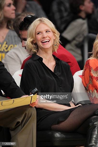 January Jones attends the game between the Oklahoma City Thunder and the Los Angeles Lakers at Staples Center on April 10 2011 in Los Angeles...