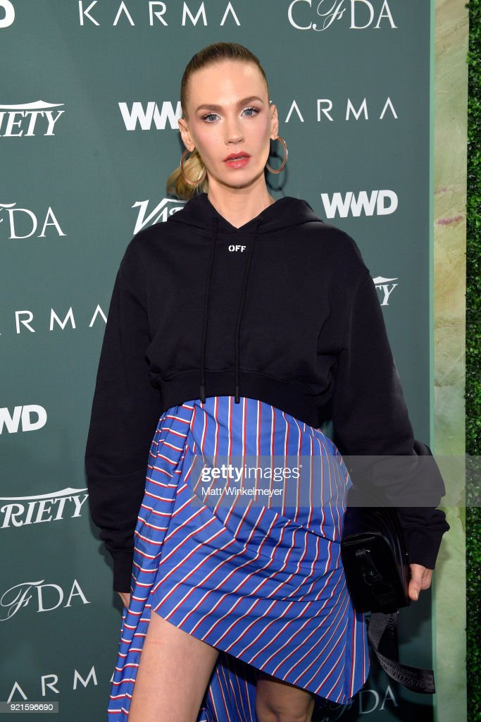 January Jones attends the Runway To Red Carpet, hosted by Council of Fashion Designers of America, Variety and WWD at Chateau Marmont on February 20, 2018 in Los Angeles, California.