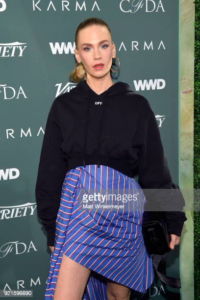 January Jones attends the Runway To Red Carpet hosted by Council of Fashion Designers of America Variety and WWD at Chateau Marmont on February 20...