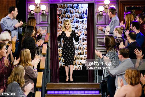 January Jones greets the audience during 'The Late Late Show with James Corden' Tuesday November 14 2017 On The CBS Television Network