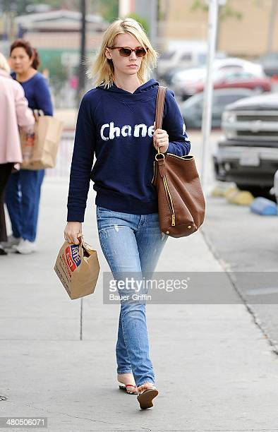 January Jones is seen stopping by Rite Aid pharmacy in Los Feliz on March 25, 2014 in Los Angeles, California.
