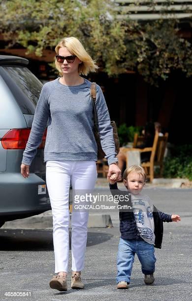 January Jones is seen with her son Xander Jones on March 25 2013 in Los Angeles California