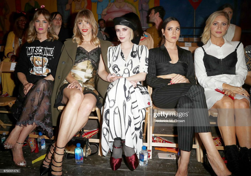 January Jones, Jaime King, Emma Roberts, Tallulah Willis, and Aubrey Plaza attend Moschino Spring/Summer 19 Menswear and Women's Resort Collection at the Los Angeles Equestrian Center on June 8, 2018 in Burbank, California.