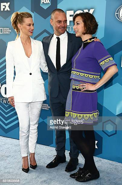 January Jones Will Forte and Kristen Schaal attend FOX 2016 Upfront Arrivals at Wollman Rink Central Park on May 16 2016 in New York City