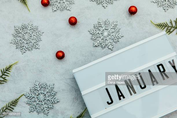 january lighbox in white background - january stock pictures, royalty-free photos & images