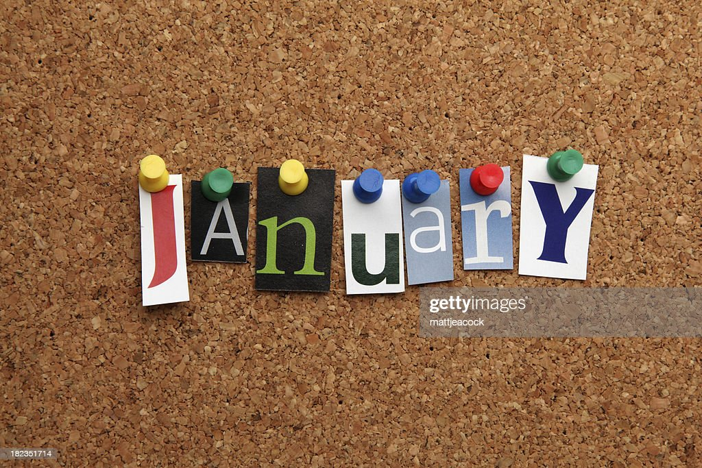 January pinned on noticeboard : Stock Photo