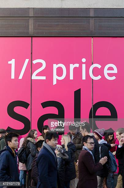 January sales window display on Oxford Street, London