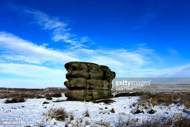 January, winter snow, the Eagle Stone on Baslow Edge; Derbyshire