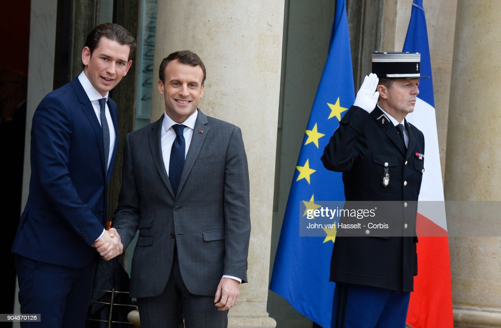 French President Emmanuel Macron receives the newly elected Chancellor of Austria Sebastian Kurz at the Elysée Palace on January 12, 2018 in Paris, France.