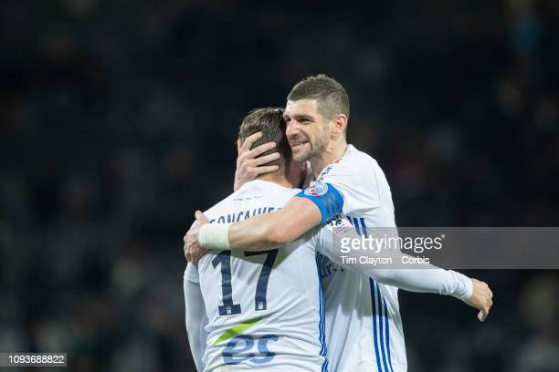 Anthony Goncalves of Strasbourg and Stefan Mitrovic of Strasbourg celebrates their sides away win at the final whistle during the Toulouse FC V...