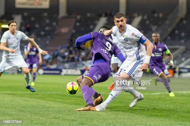 Stefan Mitrovic of Strasbourg was judged to have fouled Yaya Sanogo of Toulouse on video replay which resulted in a penalty award during the Toulouse...