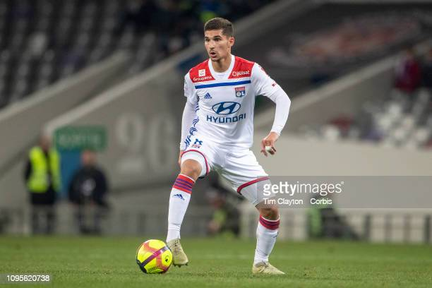 Houssem Aouar of Lyon in action during the Toulouse FC V Lyon Ligue 1 France regular season match at Stadium Municipal on January 16th 2019 Toulouse...