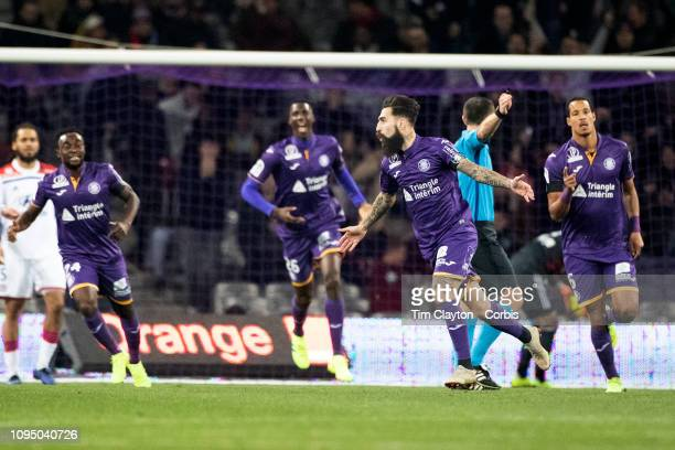January16: Jimmy Durmaz of Toulouse celebrates after scoring an early goal during the Toulouse FC V Lyon, Ligue 1 France regular season match at...