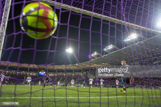 Jimmy Durmaz of Toulouse scores his second goal of the game sending goalkeeper Anthony Lopes of Lyon the wrong way from the penalty spot during the...