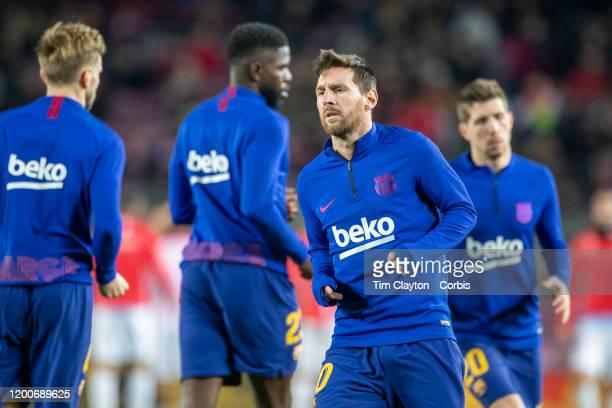 January19: Lionel Messi of Barcelona during team warm up with team mates before the Barcelona V Granada, La Liga regular season match at Estadio Camp...