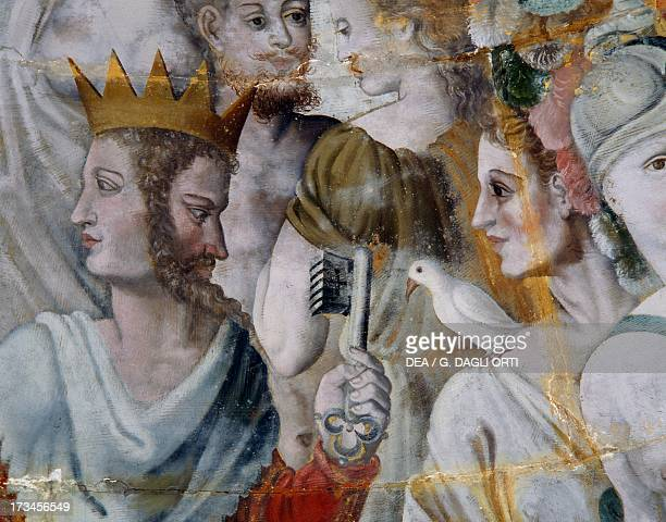 Janus and Juno frescoes in the gilded tower of the Ligue Fontainebleau School Tanlay Castle Burgundy France