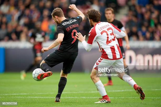 Janus Drachmann of FC Midtjylland and Filip Lesniak of AaB Aalborg compete for the ball during the Danish Alka Superliga match between FC Midtjylland...