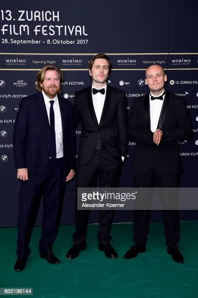 Janus Metz Pedersen Sverrir Gudnason and Ronnie Sandahl of the movie 'Borg vs McEnroe' attend the opening ceremony and 'Borg vs McEnroe' premiere at...
