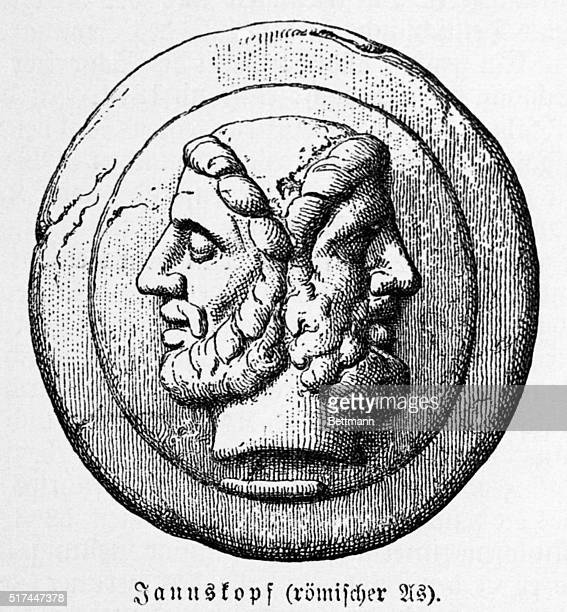 Janus Roman God of doorways after whom the first month of the year was named Engraving BPA2# 3543