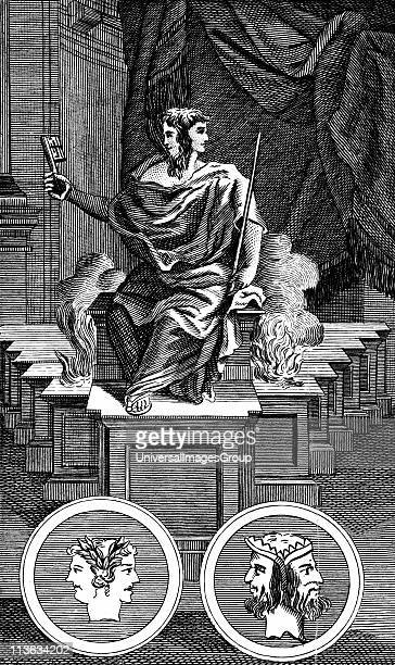 Janus Twofaced Ancient Roman god keeper of the gate of heaven Copperplate engraving 1798