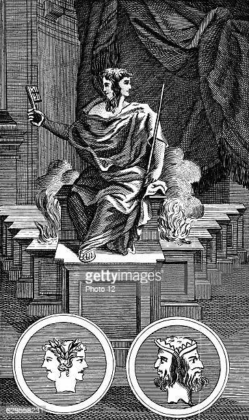 Twofaced Roman god keeper of the gate of heaven Copperplate engraving 1798