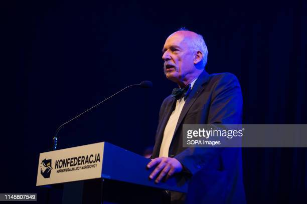 Janusz KorwinMikke one of the Leaders of the far right and Eurosceptic Confederation Coalition seen delivering a speech during a campaign convention...