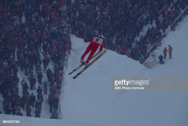 Janusz Malik competing in the 70 meter ski jump at the 1984 Winter Olympics / XIV Olympic Winter Games Igman Olympic Jumps
