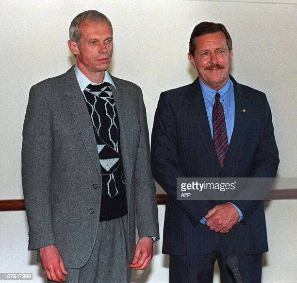 Janusz Walusz and Clive DerbyLewis killers of South African Communist Party Secretary General Chris Hani pose for a photocall at the Truth and...