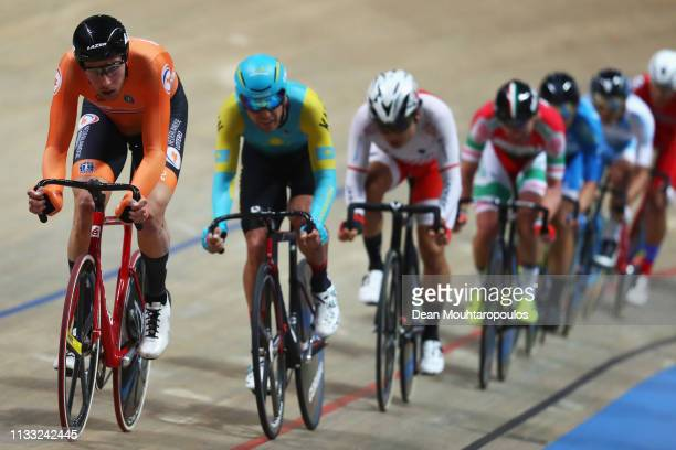 Jan-Willem van Schip of the Netherlands competes in the Men's Omnium Final on day four of the UCI Track Cycling World Championships held in the BGZ...