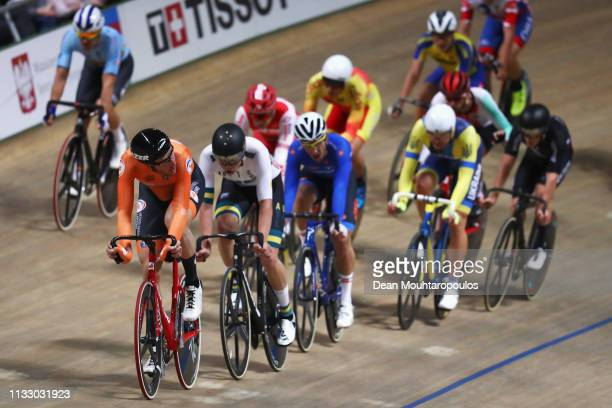 JanWillem van Schip of the Netherlands leads on his way to winning the gold medal in the Men's Points Race Final on day three of the UCI Track...