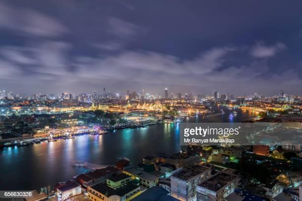 Jao Praya River view, Grand palace at night