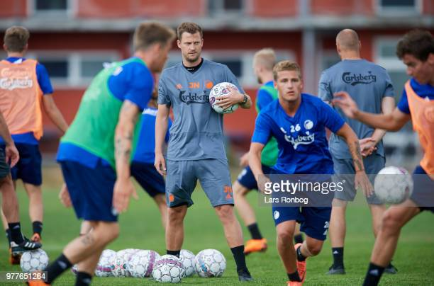 Jaocb Neestrup assistant coach of FC Copenhagen watching the players during the FC Copenhagen training session at KB's Baner on June 18 2018 in...